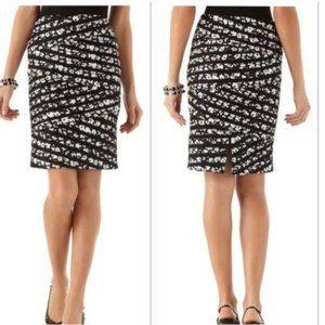 NWT WHBM White Black Floral Banded Pencil Skirt